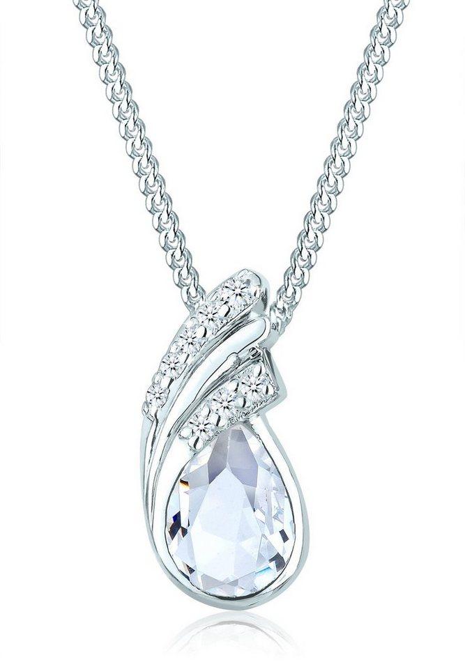Elli Halskette »925 Sterling Silber Tropfen Swarovski Kristalle« in Weiß