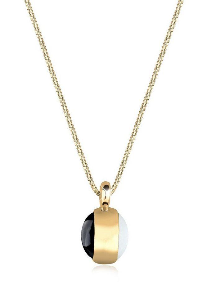 Goldhimmel Halskette »Edelstein Onyx Mondstein 925 Sterling Silber« in Weiß