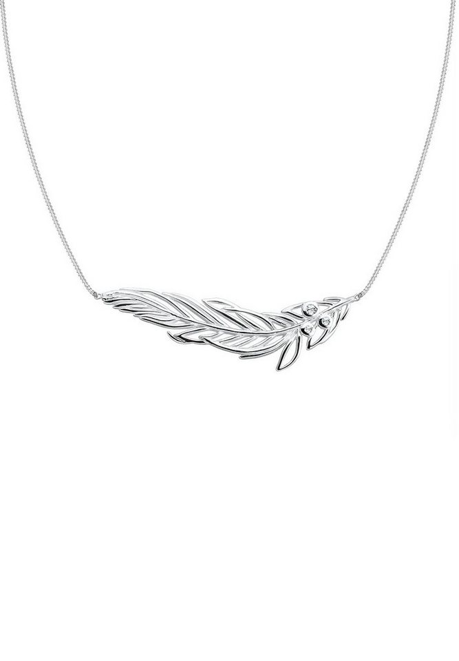 Elli Halskette »Feder Swarovski® Kristalle 925 Sterling Silber« in Silber