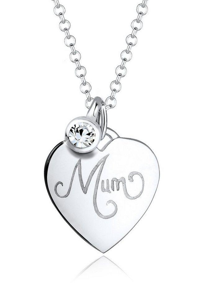 Elli Halskette »Mum-Schriftzug Swarovski® Kristalle 925 Silber« in Weiß