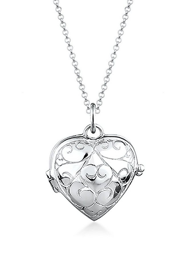 Elli Halskette »Herz-Medaillon Ornament 925 Sterling Silber« in Silber
