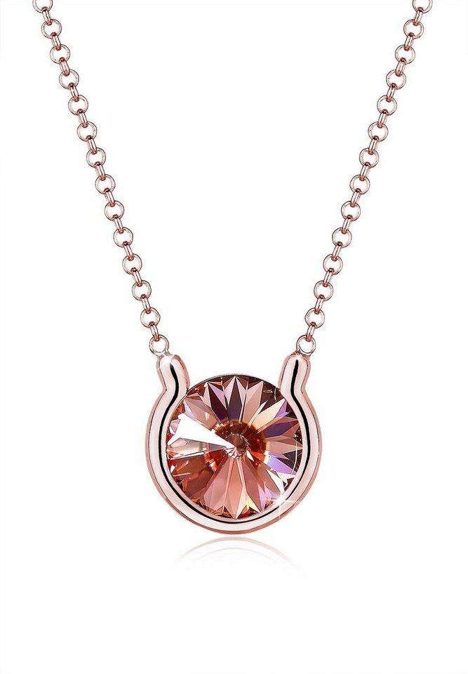Elli Halskette »Swarovski® Kristalle Rosé 925 Sterling Silber« in Rosegold