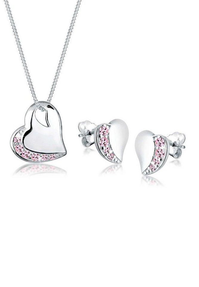 Elli Set: Schmuckset »Herzen Swarovski® Kristalle 925 Silber« 2 tlg. in Rosa
