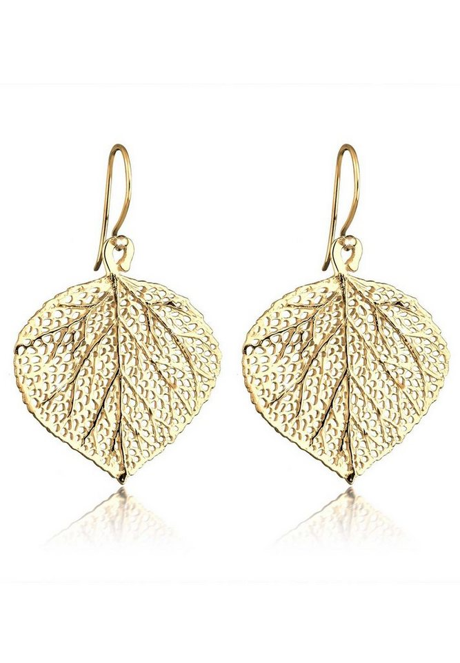 Elli Ohrringe »Blatt 925 Sterling Silber vergoldet« in Gold