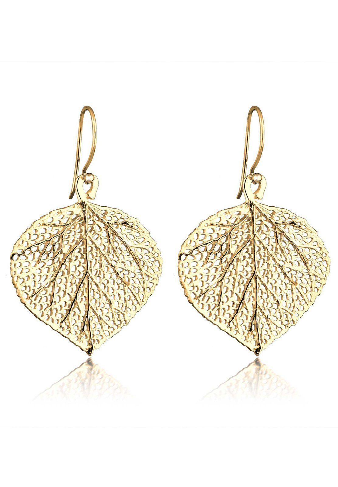 Elli Ohrringe »Blatt 925 Sterling Silber vergoldet«