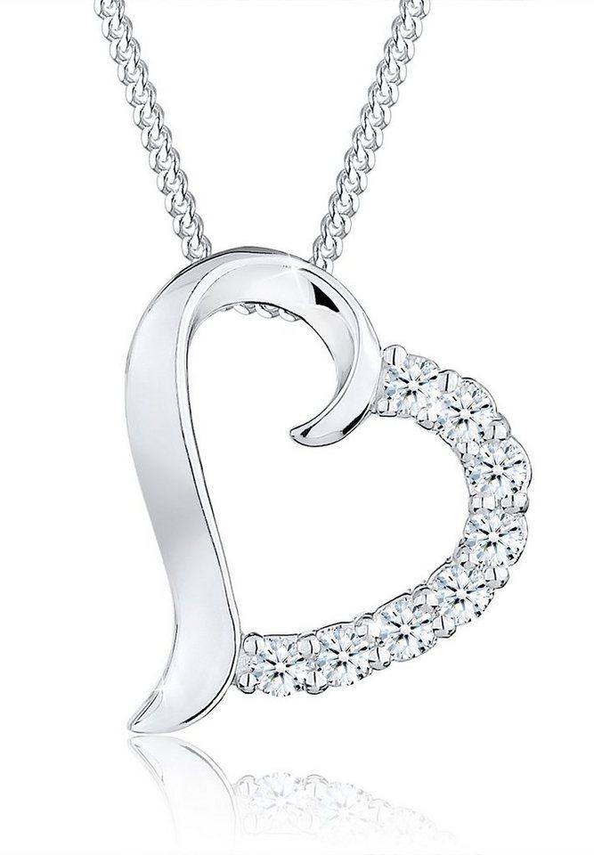 Diamore Halskette »Herz Diamant Blitzend 925 Sterling Silber« in Weiß