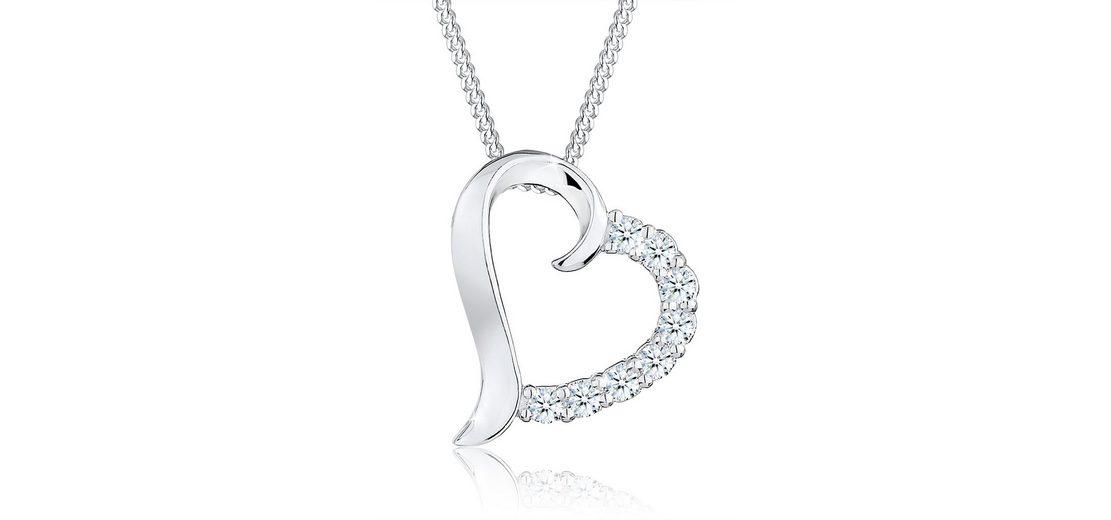 Diamore Halskette »Herz Diamant Blitzend 925 Sterling Silber«