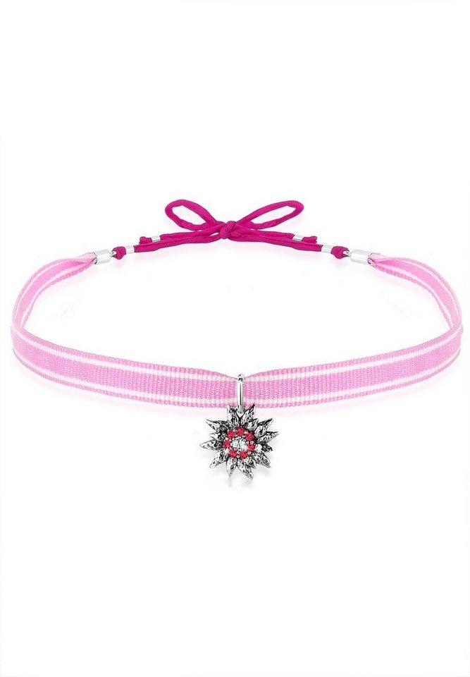 Elli Halskette »Wiesn Edelweiss Swarovski® Kristalle 925 Silber« in Pink