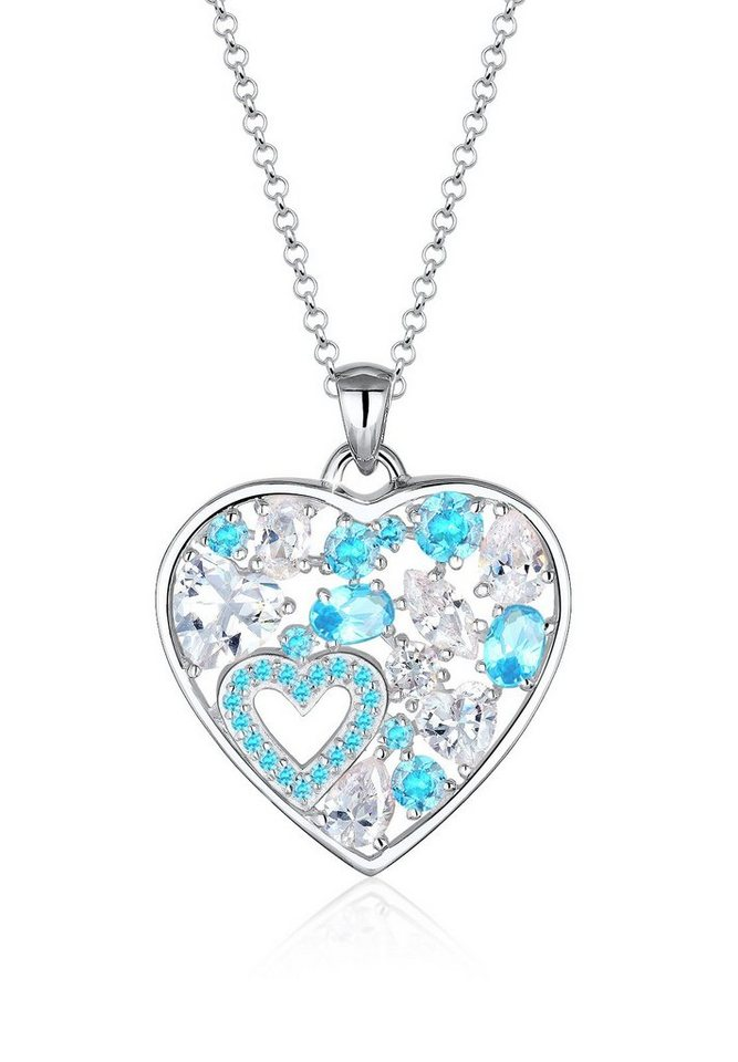Elli Halskette »Herz Funkelnd Zirkonia 925 Sterling Silber« in Hellblau