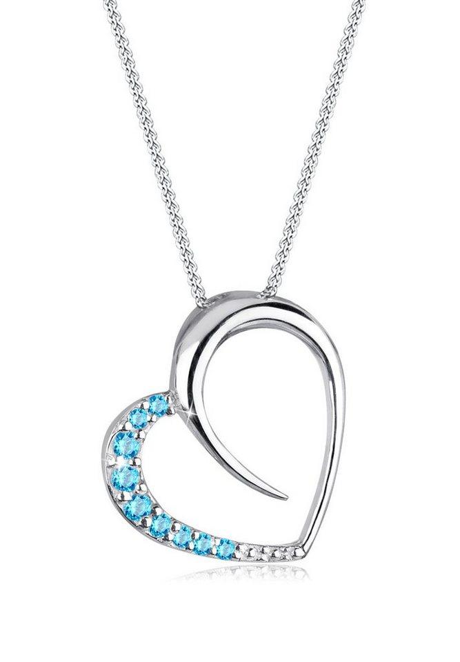 Elli Halskette »Herz Zirkonia 925 Sterling Silber« in Hellblau