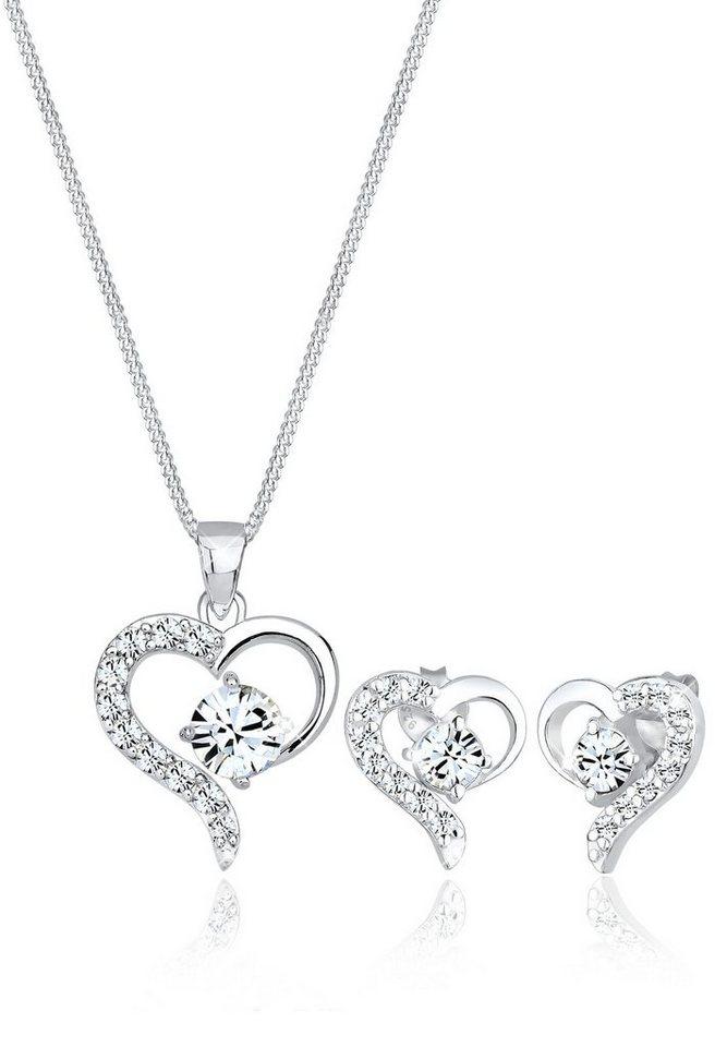 Elli Set: Schmuckset »Funkelnd Swarovski® Kristalle 925 Sterling Silber« 2 tlg. in Weiß