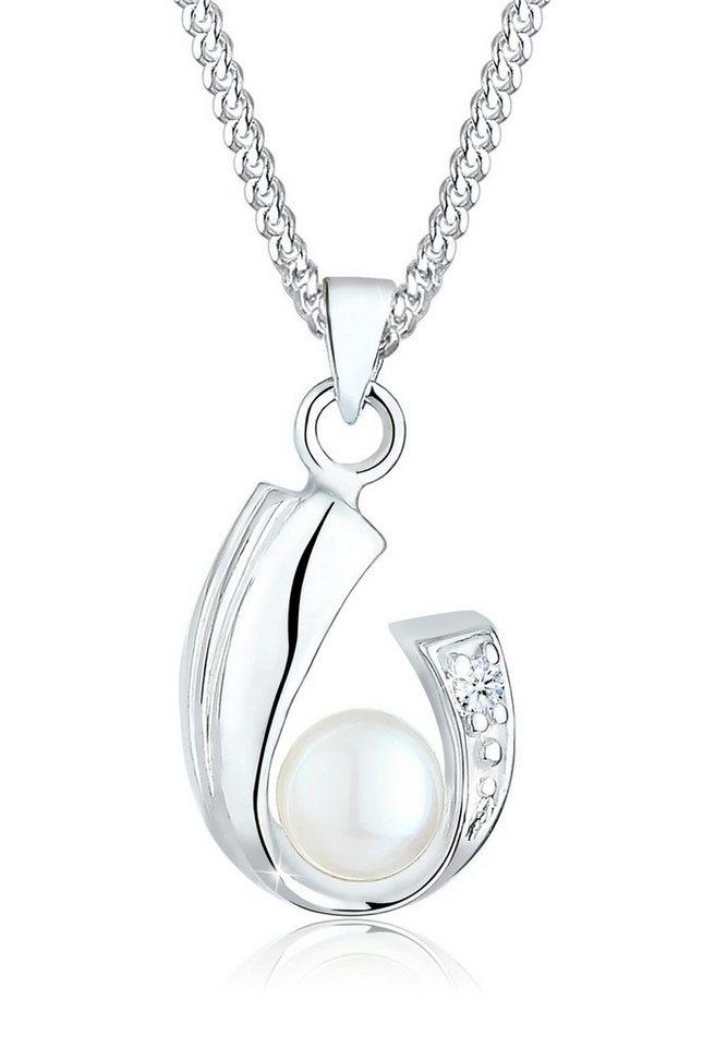 Diamore Halskette »Diamant Süßwasserzuchtperle 925 Sterling Silber« in Weiß