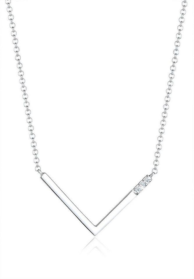 Diamore Halskette »V-Kette Diamant 925 Sterling Silber« in Weiß
