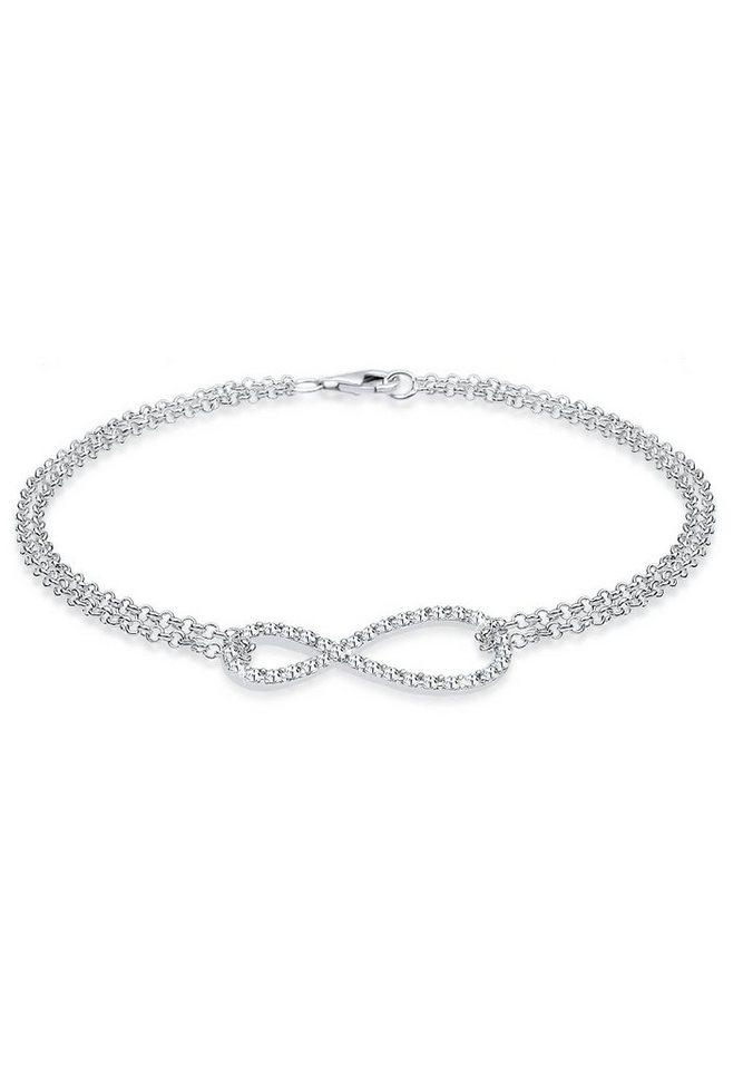 Elli Armband »925 Sterling Silber Infinity Swarovski Kristalle« in Weiß