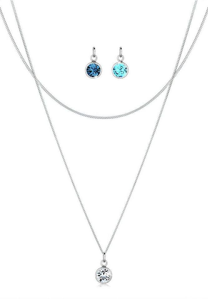 Elli Set: Halskette »Anhänger-Set Swarovski Kristalle 925 Silber« 3 tlg. in Weiß