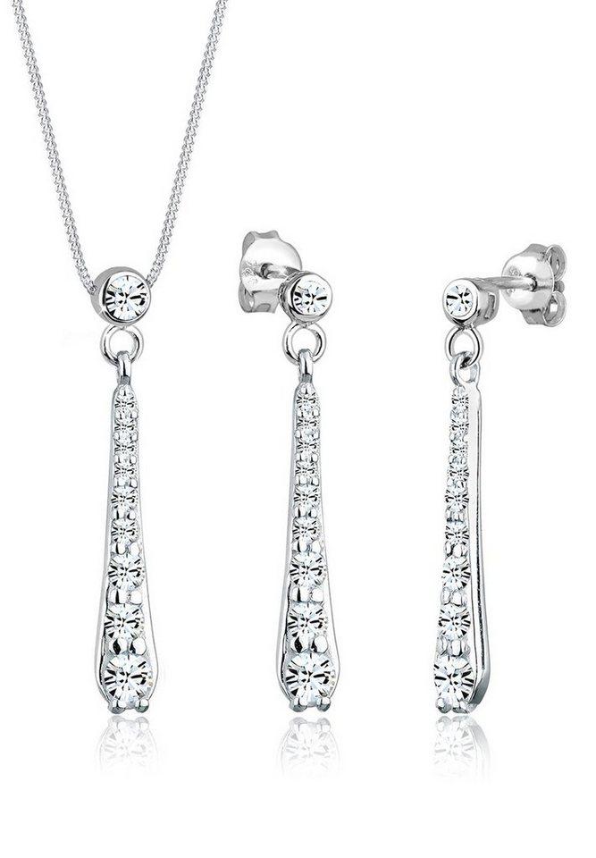 Elli Set: Schmuckset »Tropfen Swarovski Kristalle 925 Silber« 2 tlg. in Silber