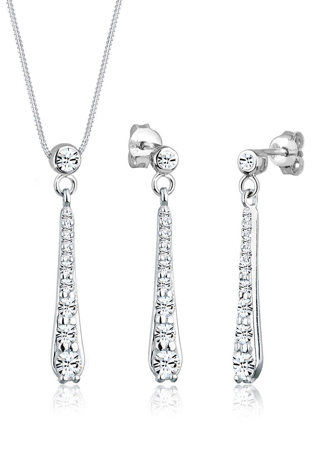 Elli Set: Schmuckset »Tropfen Swarovski Kristalle 925 Silber« 2 tlg.