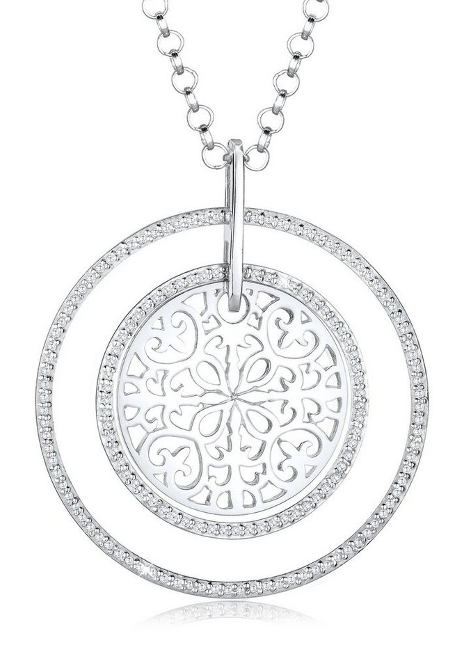 Elli Halskette »Ornament Zirkonia 925 Silber« in Weiß