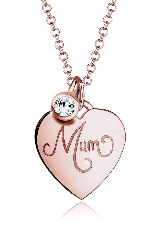Elli Halskette »Mum-Schriftzug Swarovski® Kristalle 925 Silber« in Rosegold