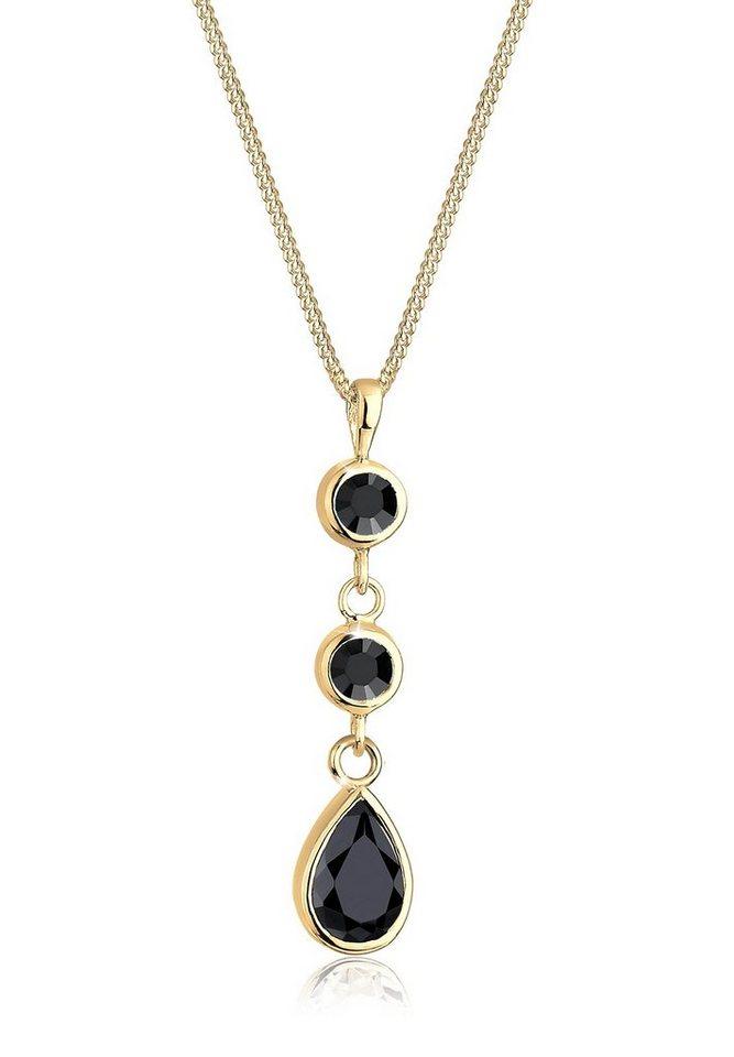 Goldhimmel Halskette »Tropfen Swarovski® Kristalle 925 Sterling Silber« in Schwarz