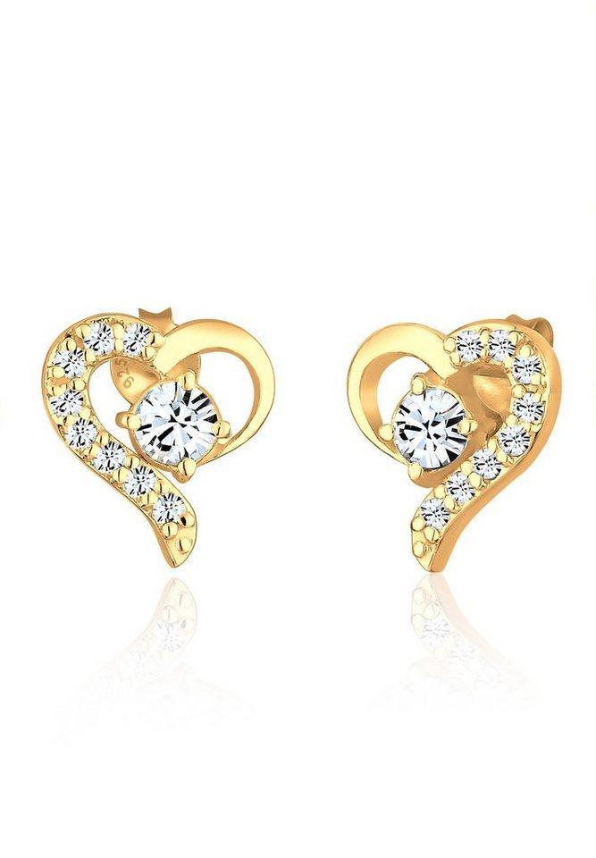 Elli Ohrringe »Herz Swarovski Kristalle 925 Sterling Silber« in Gold