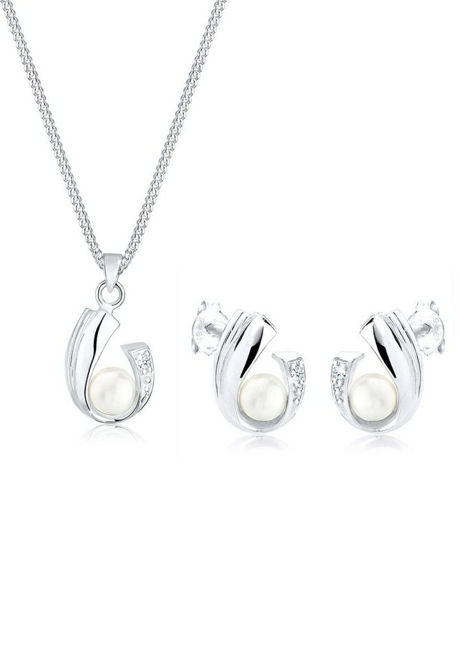 Diamore Set: Schmuckset »Diamant Perlen 925 Sterling Silber« 2 tlg. in Weiß