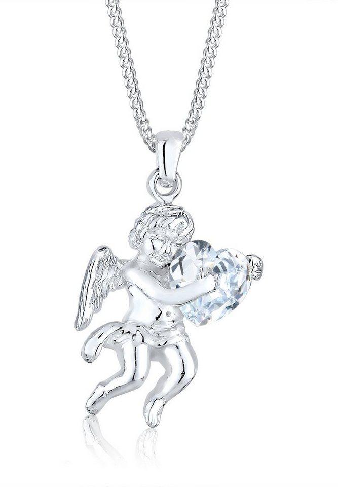 Elli Halskette »Engel Herz Zirkonia 925 Sterling Silber« in Weiß