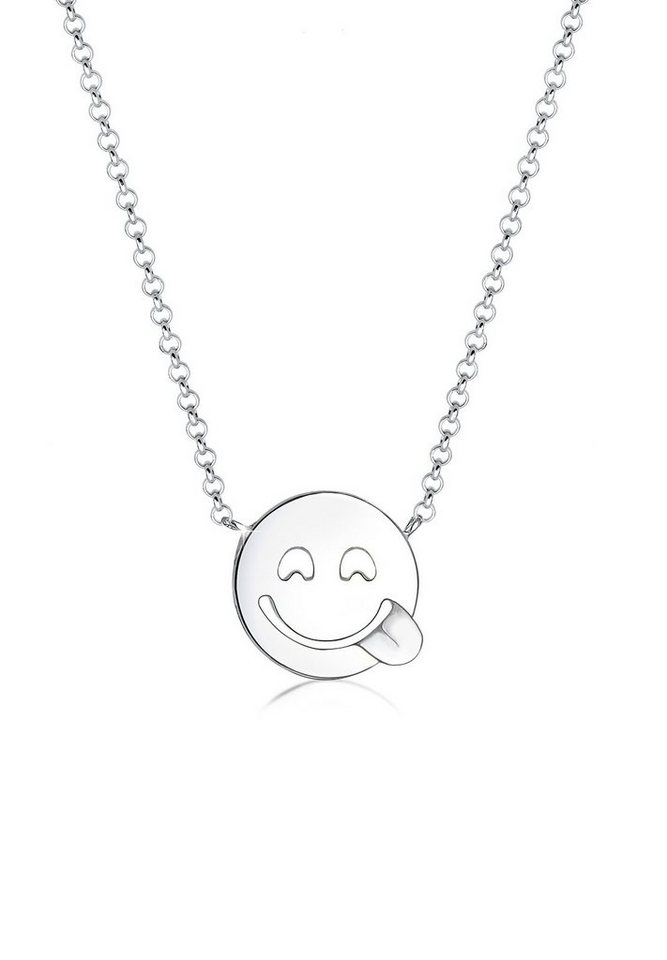 Elli Halskette »Smiley Icon 925 Sterling Silber« in Silber