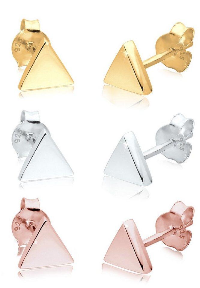 Elli Set: Ohrringe »3er Set Dreieck Geo Trend Tricolor Minimal Silber« 3 tlg. in Silber
