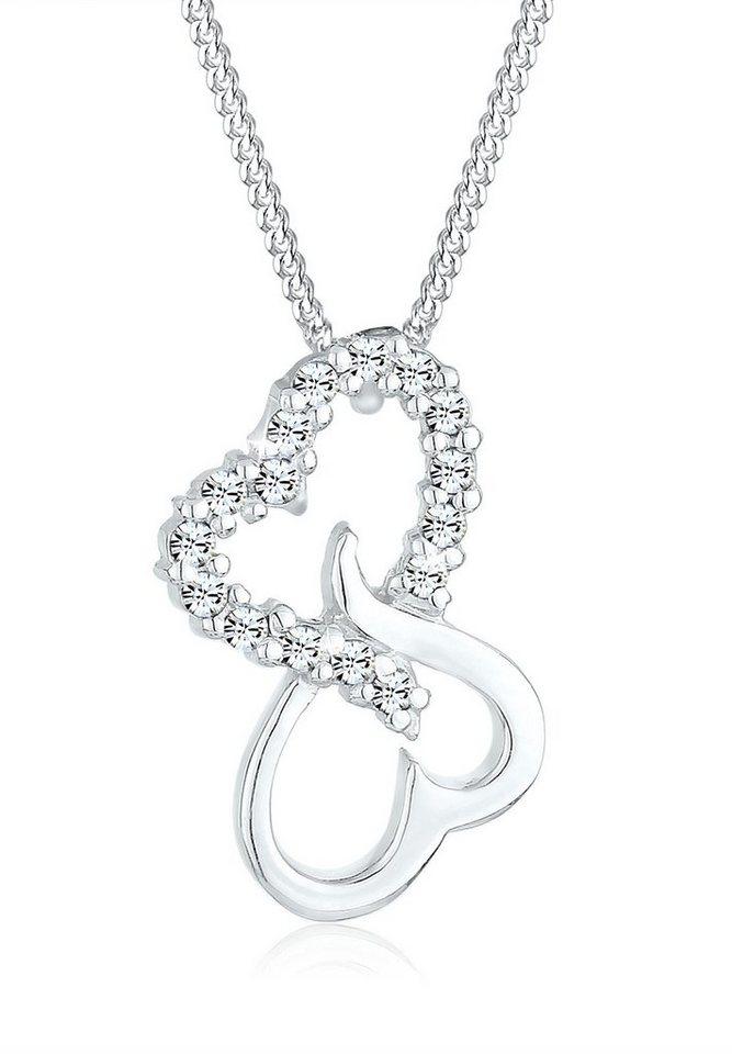 Elli Halskette »Herzen Swarovski® Kristalle 925 Sterling Silber« in Weiß