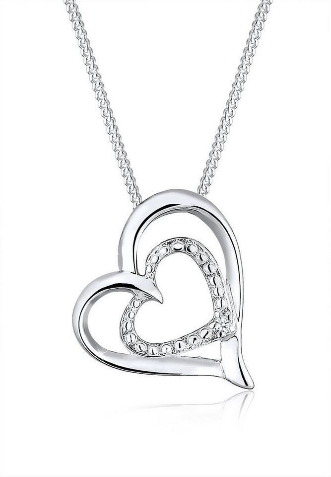 Diamore Halskette »Herz Diamant Liebesbeweis 925 Sterling Silber« in Weiß