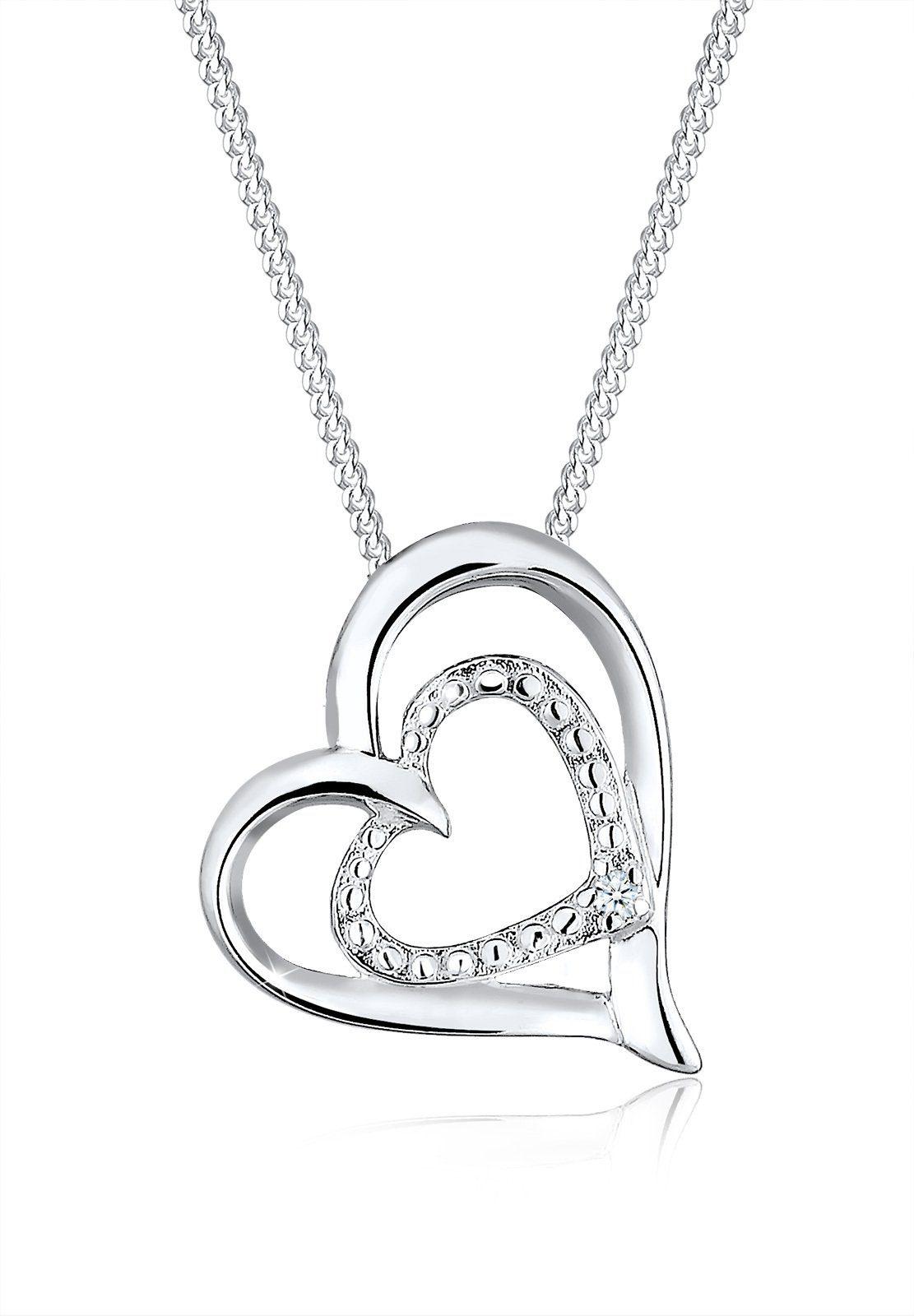 Diamore Halskette »Herz Diamant Liebesbeweis 925 Sterling Silber«