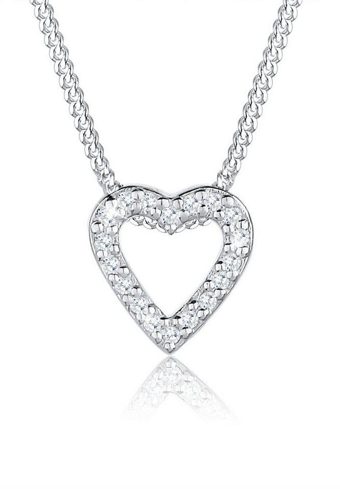 Elli Halskette »Herz Liebe Zirkonia 925 Sterling Silber« in Weiß