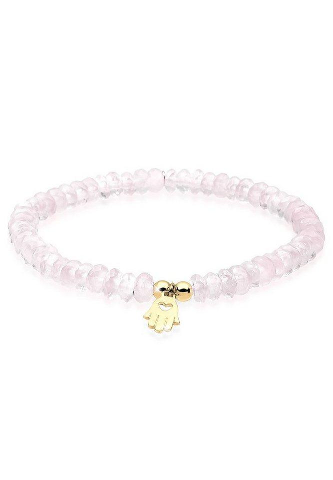 Elli Armband »Hand der Fatima Rosenquarz Silber vergoldet« in Rosa