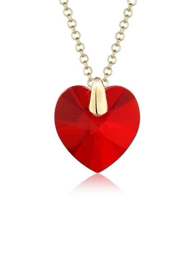 Elli Halskette »Herz Love Swarovski® Kristalle 925 Sterling Silber« in Rot