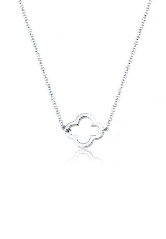 Elli Halskette »Kleeblatt Talisman Filigran 925 Sterling Silber« in Silber