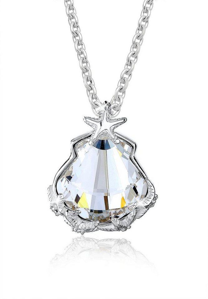 Elli Halskette »925 Silber Muschel Seestern Swarovski Kristalle« in Weiß