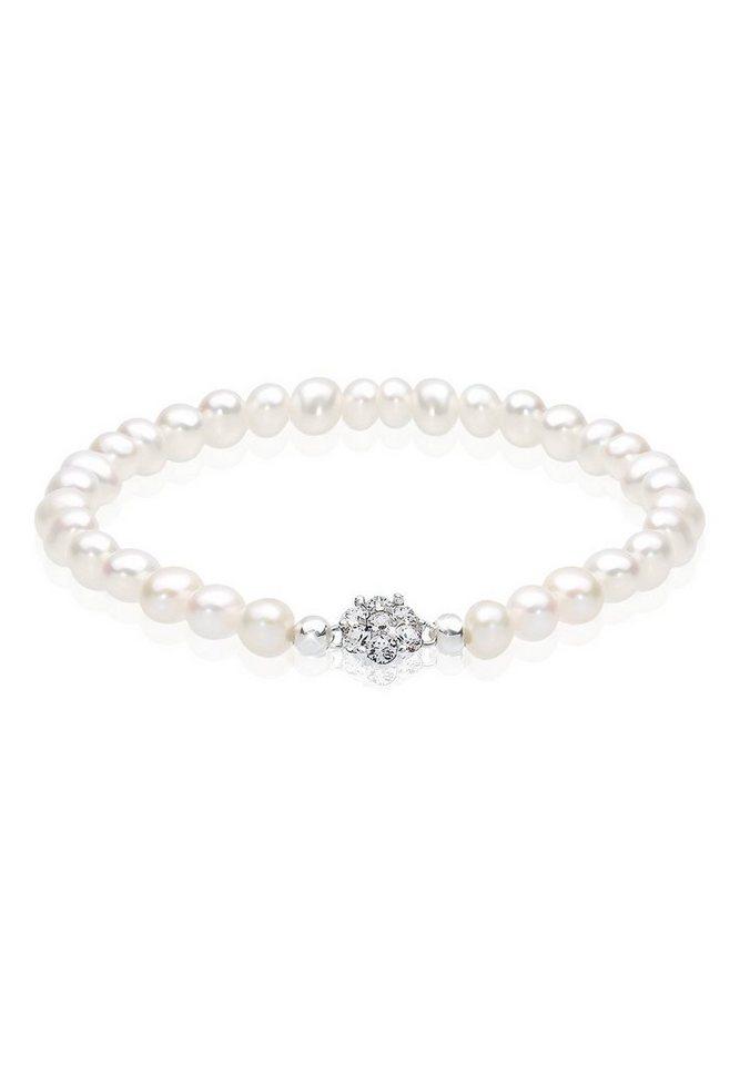 Perlu Armband »Süßwasserperlen Swarovski Kristalle 925 Silber« in Weiß