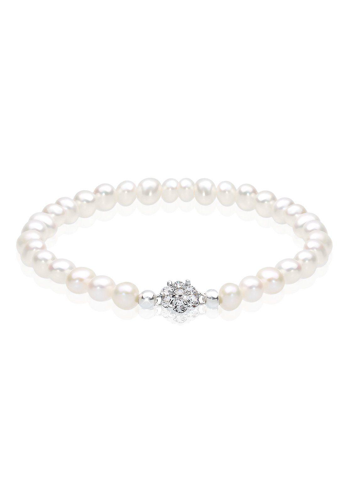 Perlu Armband »Süßwasserperlen Swarovski Kristalle 925 Silber«