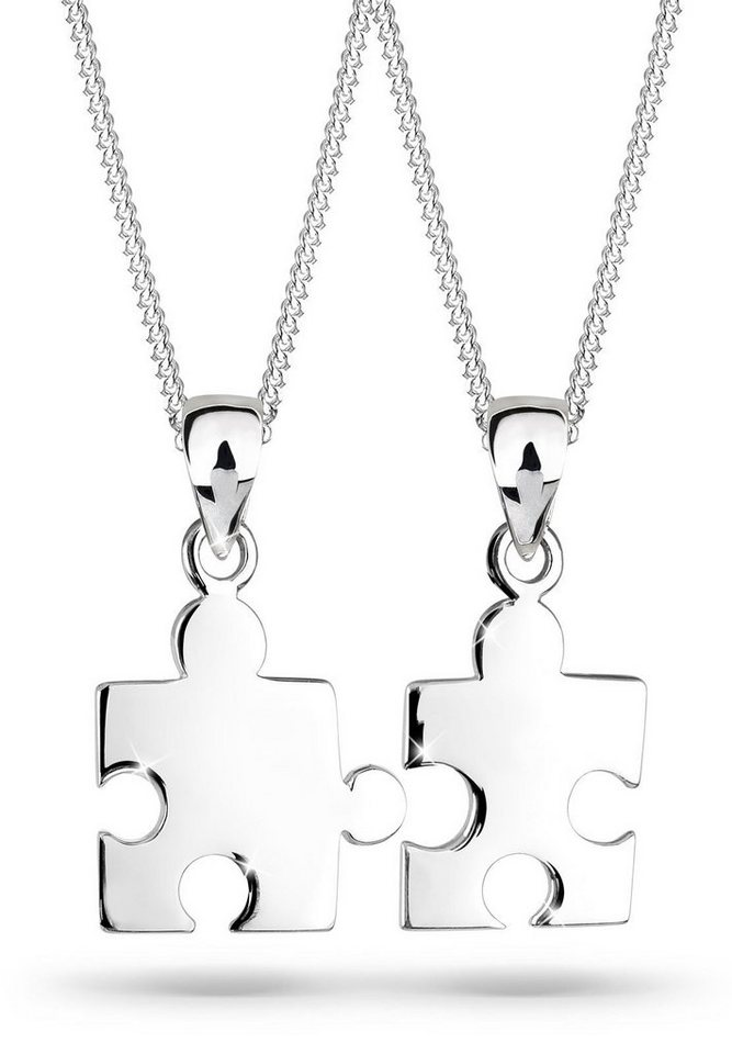 Elli Set: Halskette »Partnerkette Puzzle 925 Sterling Silber« 2 tlg. in Silber