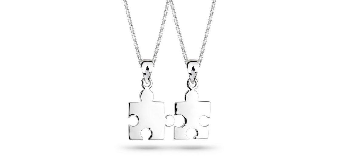Elli Set: Halskette »Partnerkette Puzzle 925 Sterling Silber« 2 tlg.