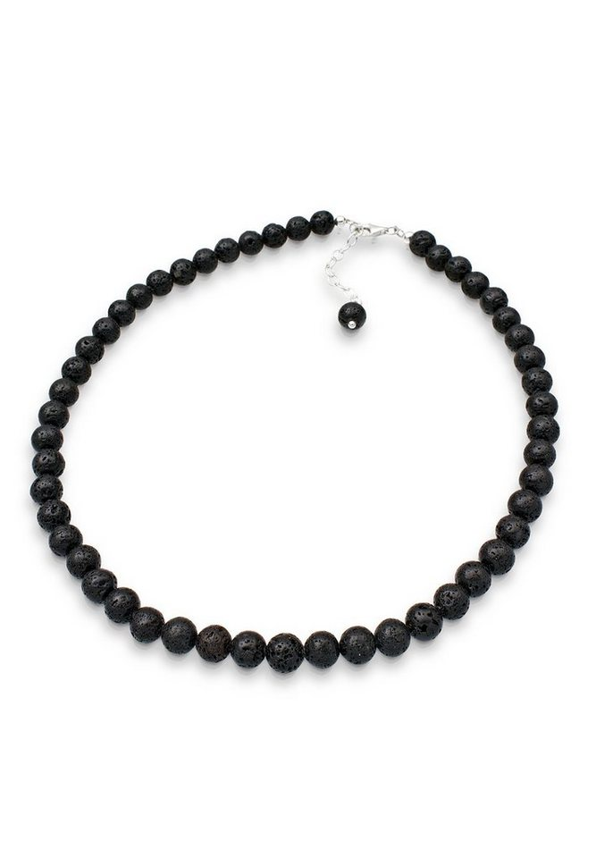 Elli Halskette »Lava Perlen 925 Sterling Silber« in Schwarz