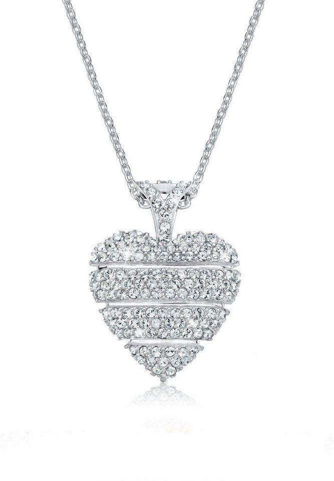 Elli Halskette »Herz Love Swarovski® Kristalle 925 Sterling Silber« in Weiß