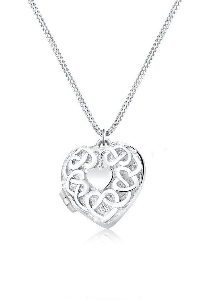 Elli Halskette »Herz-Medaillon 925 Sterling Silber« in Silber