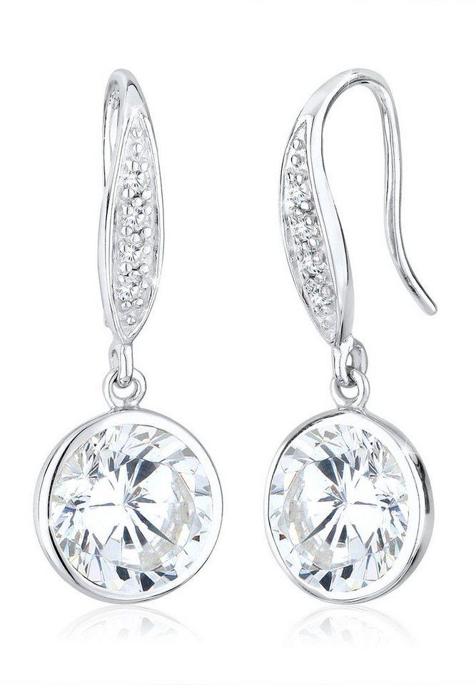 Elli Ohrringe »Zirkonia Glamour Elegant Klassisch 925 Silber« in Weiß