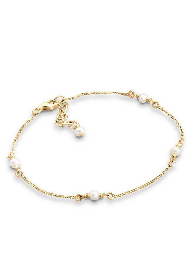 Goldhimmel Armband »Süßwasserzuchtperlen 925 Silber vergoldet« in Weiß