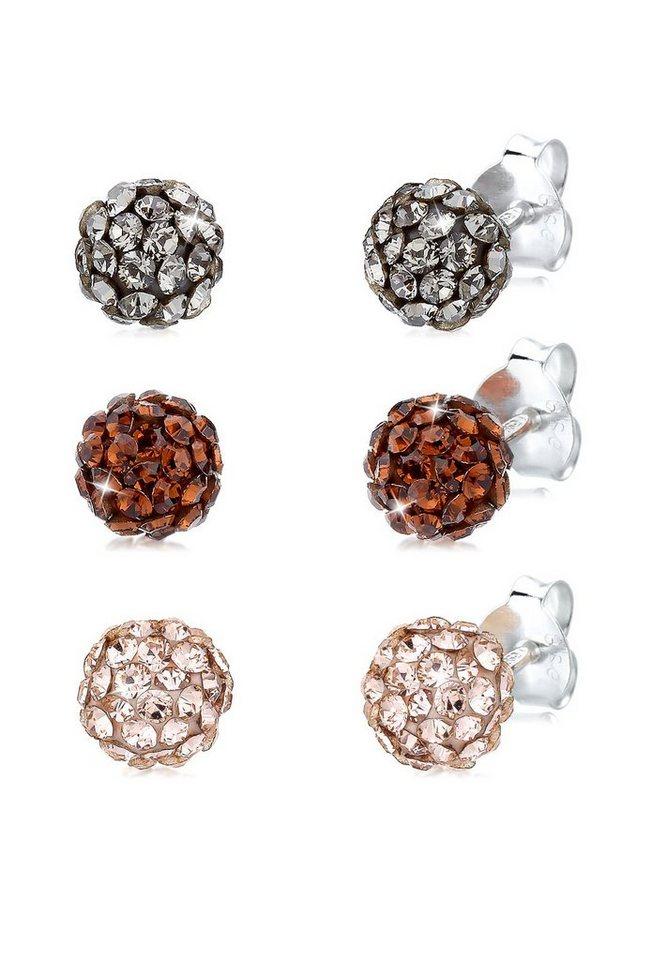 Elli Set: Ohrringe »925 Sterling Silber Swarovski Kristalle Tricolor« 3 tlg. in Bunt