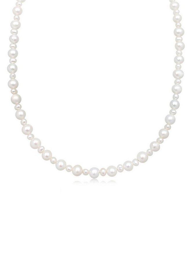 Perlu Halskette »Zeitlos Süßwasserzuchtperlen 925 Sterling Silber« in Weiß