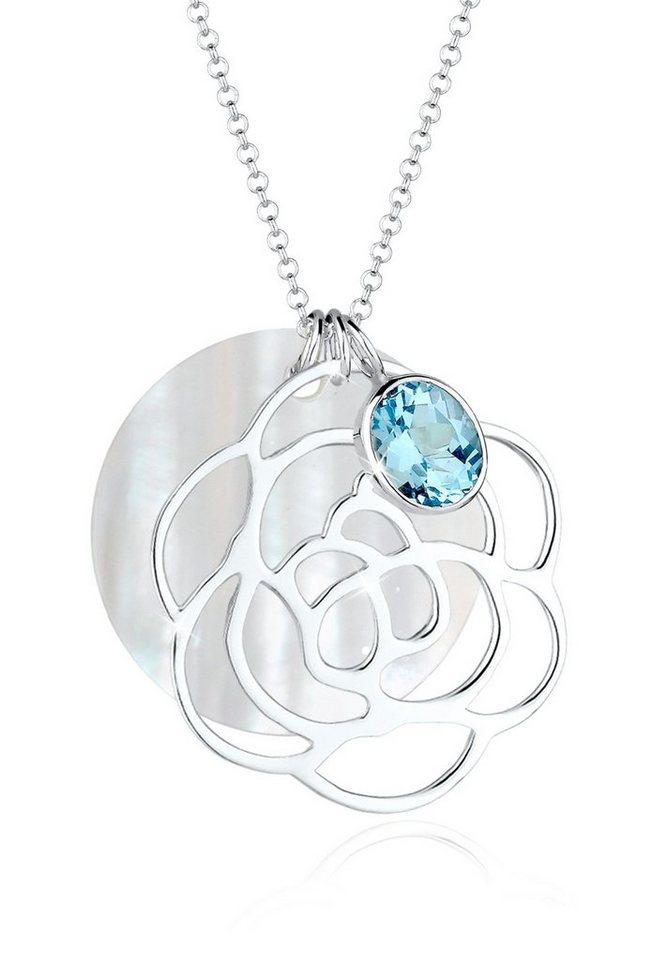 Elli Halskette »925 Sterling Silber Blume Perlmuttscheibe Topas« in Hellblau