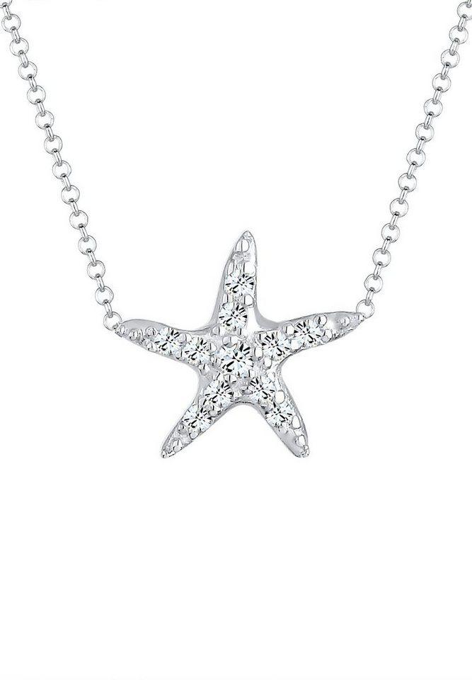 Elli Halskette »Seestern Swarovski® Kristalle 925 Sterling Silber« in Silber